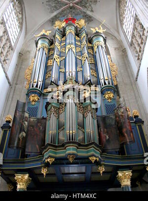 Monumental Flentrop organ in the Church of our Lady (Onze-Lieve-Vrouwekerk), a former cathedral in the city of Breda, - Stock Photo