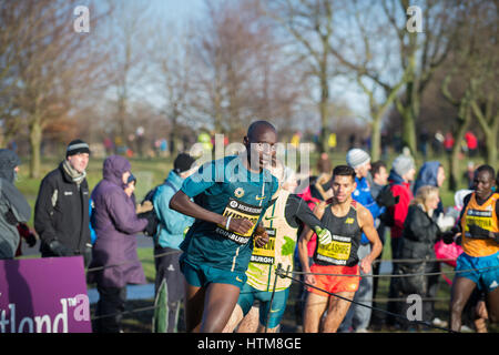 EDINBURGH, SCOTLAND, UK - January 10, 2015 - elite athletes compete in the Great Edinburgh Cross Country Run event, - Stock Photo