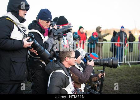 EDINBURGH, SCOTLAND, UK, January 10, 2015 - various press photographers at the Great Edinburgh Cross Country Run - Stock Photo
