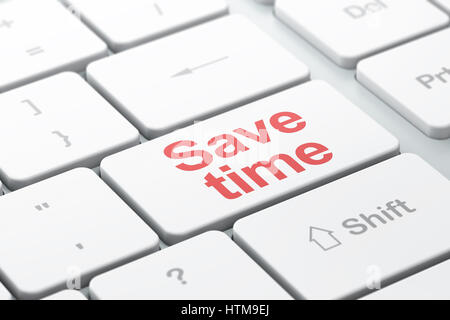 Time concept: Save Time on computer keyboard background - Stock Photo