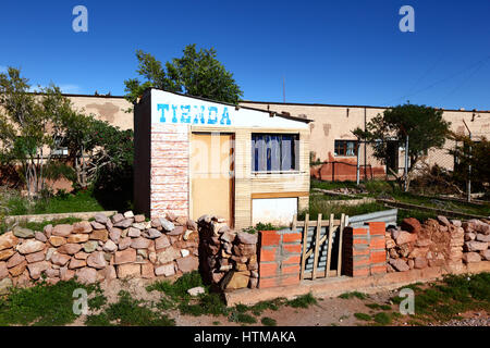 Rustic shop that is closed in small hut in Pulacayo village, Potosi Department, Bolivia - Stock Photo