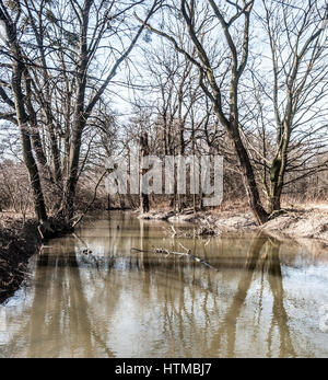 Odra river distributary with trees and clear sky in early spring landscape of CHKO Poodri between Studenka and Petrvaldik - Stock Photo