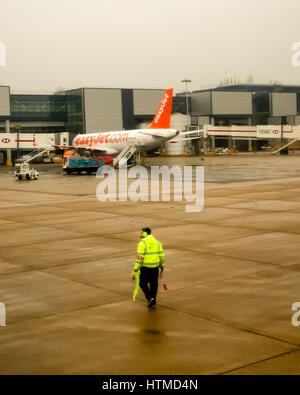 London Gatwick. England UK.  EasyJet planes on London Gatwick airport runway preparing for take off.  Member of - Stock Photo