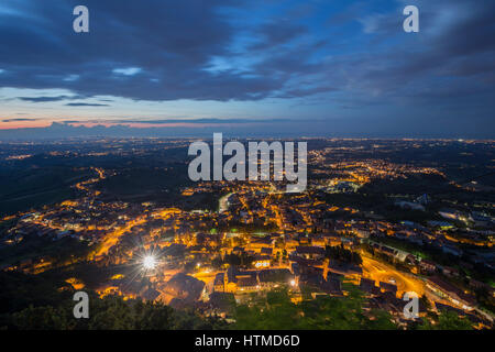 San Marino, View from the Monte Titano at night - Stock Photo