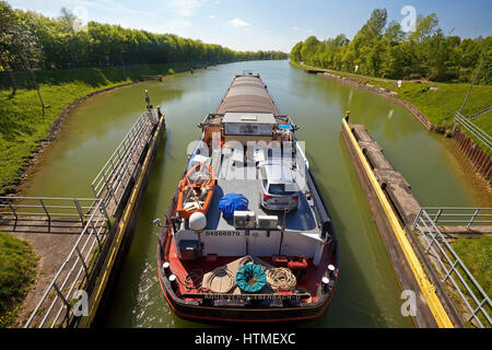 Barge travelling from the Great Schleuse Bevergern on the Dortmund-Ems Canal, Hörstel, Münsterland, North Rhine - Stock Photo