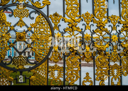 Gates of  Catherine palace in Tsarskoye Selo, Pushkin, Saint Petersburg - Stock Photo