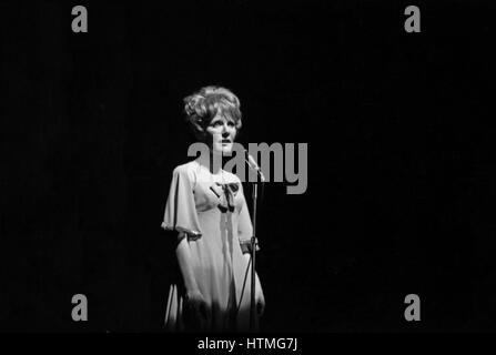 Petula Clark performing at the Paris Olympia Hall in April 1965. - Stock Photo