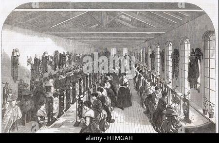 Pen slitting room, Hinks, Wells & Co., factory, Birmingham. From 'The Illustrated Midland News', 22 February 1851. - Stock Photo