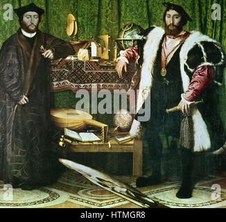 'The Ambassadors', , (1533): Jean de Dinteville (1504-1555) and Georges de Selve (1508-1551), Bishop of Lavaur, - Stock Photo
