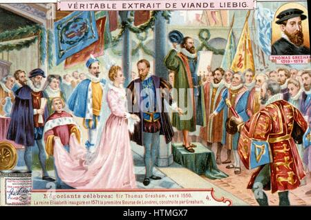 Elizabeth I inaugurating the first Royal Exchange, London, 1571. The Exchange was built by Thomas Gresham (1519 - Stock Photo