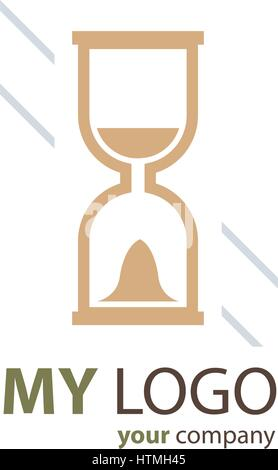 hourglass logo  brown color - Stock Photo