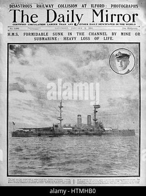 Front page of the Daily Mirror, a British newspaper during the First World War 1915. The headline refers to the - Stock Photo