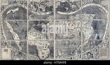 Martin Waldesmüller was the first cartographer to identify America as a separate continent, and named it after Amerigo - Stock Photo