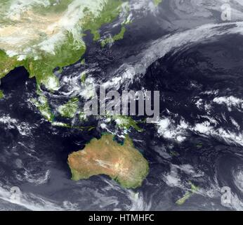 Typhoon forming over the Philippines 2009 - Stock Photo