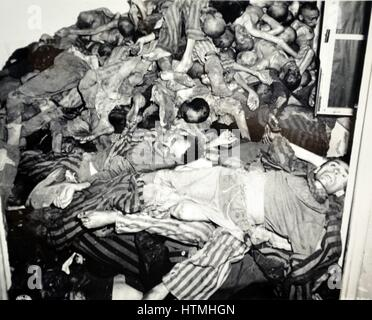 Bodies of Jews killed at Dachau concentration camp, the first of the Nazi concentration camps opened in Germany, - Stock Photo