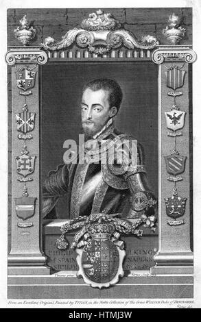 Philip II (1527-98) King of Spain (1556). Son of Emperor Charles V (1500-1558), husband of Mary I (1518-1558) queen - Stock Photo