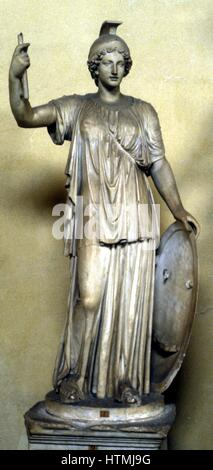 Minerva: Ancient Roman goddess of wisdom, patroness of arts, wearing helmet and holding shield. Athene in Greek - Stock Photo