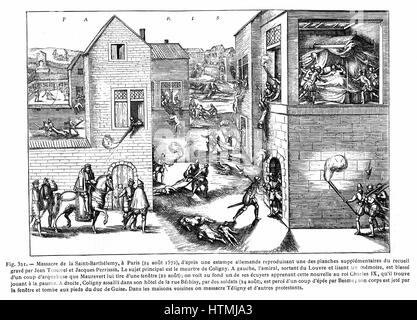 French Religious Wars 1562-1598. Massacre of St Bartholemew, Paris, 24 Aug 1572. Huguenot leader Gaspard de Coligny - Stock Photo