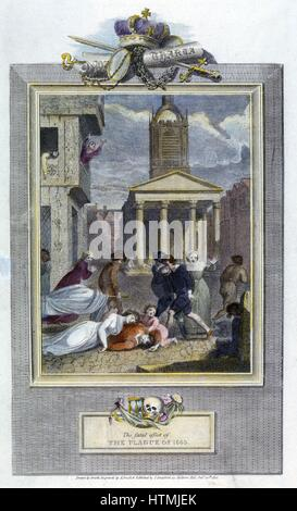 Plague of London, 1665. Scenes of death and despair in a London street during the plague. Engraving of 1810 - Stock Photo