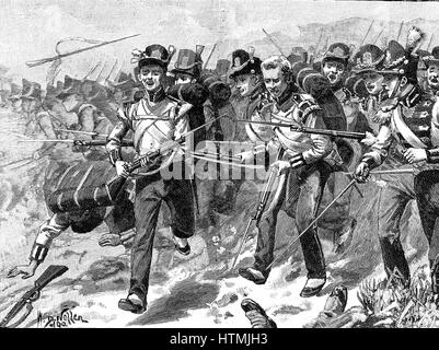 Battle of Talivera, 27-28 July 1809. Bayonet charge by the 48th Foot, the Northamptonshire Regiment, awarded battle - Stock Photo
