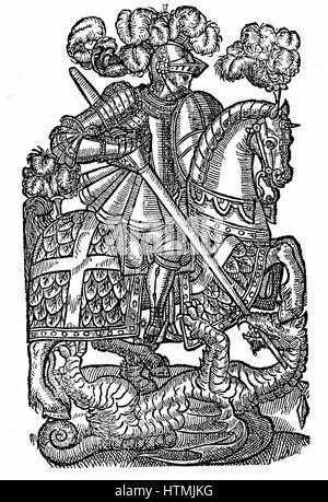 St George (dc303), the Red Cross Knight, killing the Dragon. Perhaps Roman centurion beheaded near modern Tel Aviv. - Stock Photo