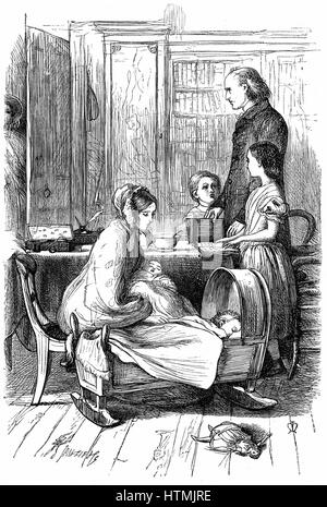The Rev. and Mrs Crawley and their young family which, as an impoverished parson, he had difficulty in supporting. - Stock Photo