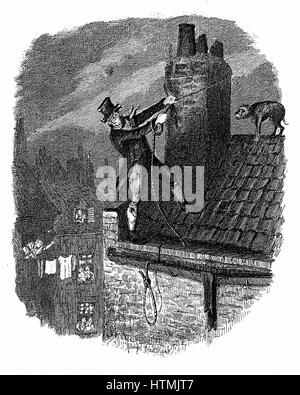 The Last Chance: Bill Sykes attempting to escape from the law over the rooftops, falls and hangs himself with his - Stock Photo