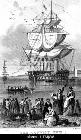 Transportation: Convict ship ready to sail from England to Australia, parts of which Britain used as a penal colony. - Stock Photo