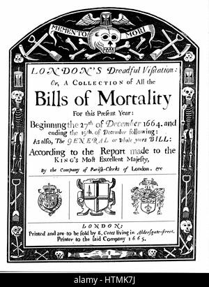 Title page of mortality bill for London for 1664/5, covering part of the period of the Great Plague. John Graunt - Stock Photo