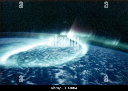 Aurora Borealis (Northern Lights) viewed from space. NASA photograph. - Stock Photo