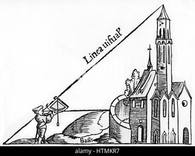 Using a quadrant with a plumb bob to calculate the height of a tower by triangulation. From Sebastian Munster 'Rudimenta - Stock Photo
