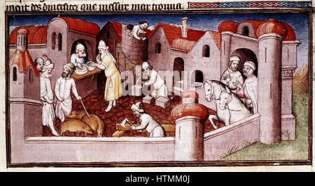 Marco Polo (1254-1324) Venetian traveller and merchant. Scene from his 'Book of Marvels ...' early 15th century - Stock Photo