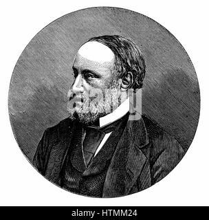 James Prescott Joule (1818-1889) English physicist. Mechanical equivalent of heat (J). Engraving 1876 - Stock Photo