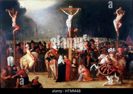 FRANCKEN, Frans, the younger (1581-1642) Flemish painter. 'Christ on the Cross between the two Thieves', oil on - Stock Photo