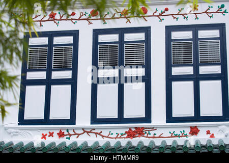 Shutters of traditional house, Chinatown, Singapore - Stock Photo