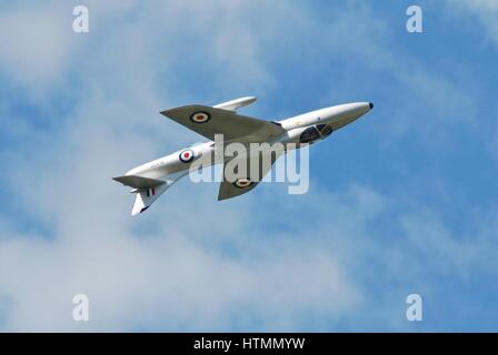 Hawker Hunter jet fighter XL577 displays at the Dunsfold airshow in Surrey, England. It was built in 1958 for the - Stock Photo