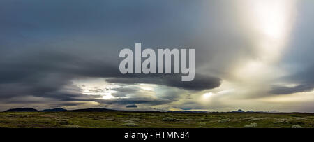 Huge storm in the icelandic highland. Dramatic clouds and sky. - Stock Photo