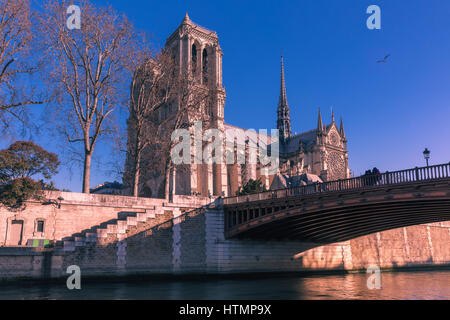 Picturesque view of Ile de la Cite, Seine River and Cathedral of Notre Dame de Paris in the winter morning, France - Stock Photo