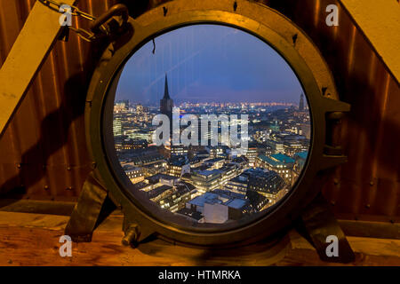 View from the tower of St. Peters Church over the city center of Hamburg, Germany - Stock Photo
