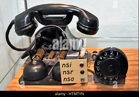 Desktop telephone W 48 Siemens & Halske, Berlin 1948 Museum of Technology (The Deutsches Technikmuseum, scientific - Stock Photo