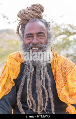 Sadhu Portrait, Galtaji, Rajasthan, India - Stock Photo