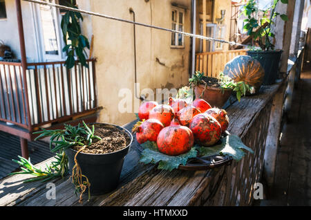 Pomegranate on a plate on the outdoor terrace on a sunny day. Still life from pomegranates. Pomegranates in a Georgian - Stock Photo