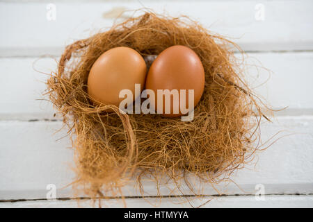 Close-up of two brown eggs in the nest on wooden surface - Stock Photo