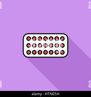 Contraceptive pills icon. Flat vector related icon with long shadow for web and mobile applications. It can be used - Stock Photo