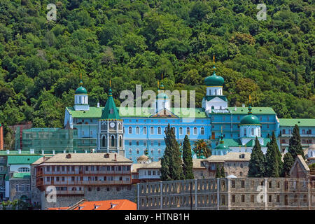Russian St. Pantaleon Orthodox monastery known as Rossikon at Mount Athos, Agion Oros or Holy Mountain, Chalkidiki, - Stock Photo