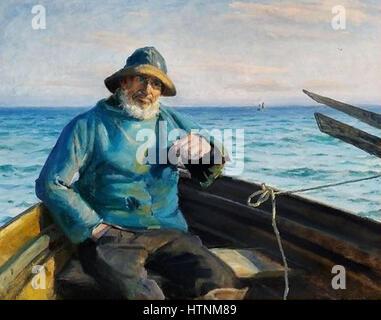 Michael Ancher - En Skagensfisker siddende i en jolle - 1864-1928 - Stock Photo