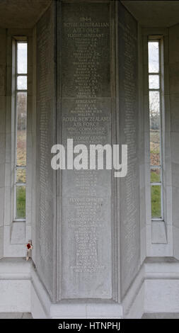 Panel 262 at Runnymede Air Forces Memorial showing inscriptions of names of Australian and New Zealand aircrew 'lost' - Stock Photo