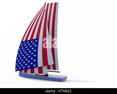 sailboat with sail colored as american flag, 3d illustration - Stock Photo