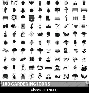 100 gardening icons set in simple style  - Stock Photo
