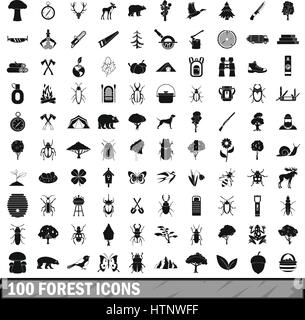 100 forest icons set in simple style  - Stock Photo